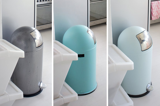 JOELIX.com | Before & after Wesco Kickboy waste bin turquoise iceblue mint