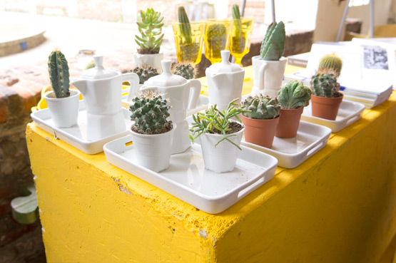 JOELIX.com | mini cactus plants in Italian coffee pots #yellow