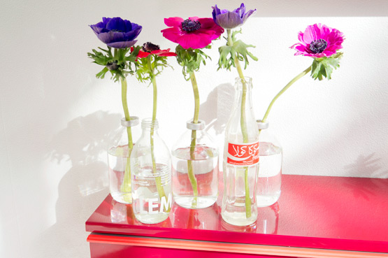 JOELIX.com | Colorful anemones in reused bottles #2flowergirls