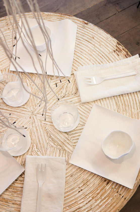 JOELIX.com | Spring at Merci Paris shop white shell chandelier and white table setting